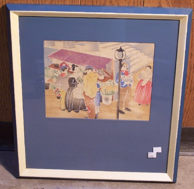 CARY, PAGE (Born 1904 American) Two framed works, both depicting French street scenes with figures, both light lined handcolored block prints, approximate image 8 1/2'' x 10 7/8'', frame 19'' x 18'', both signed lower right.