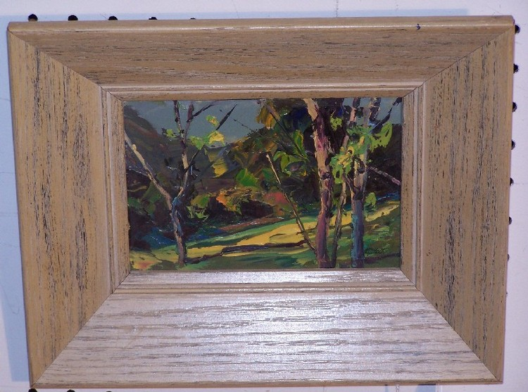 ENABNIT, MERLIN GLEN (1903-1979 American) Landscape, framed oil on thin board, approximate image 5'' x 7'', frame 10'' x 12'', signed lower right.