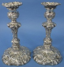 *PAIR OF ENGLISH STERLING SILVER CANDLESTICKS