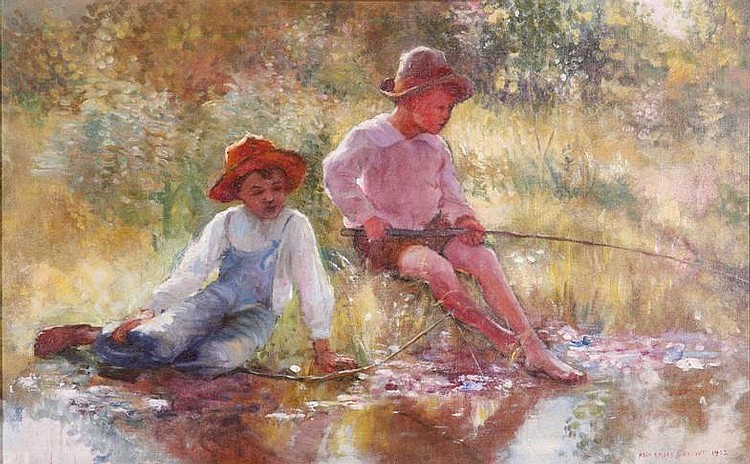 ALBRIGHT ADAM EMORY| (1862-1957 American), Listed Artist, Old Oil Painting