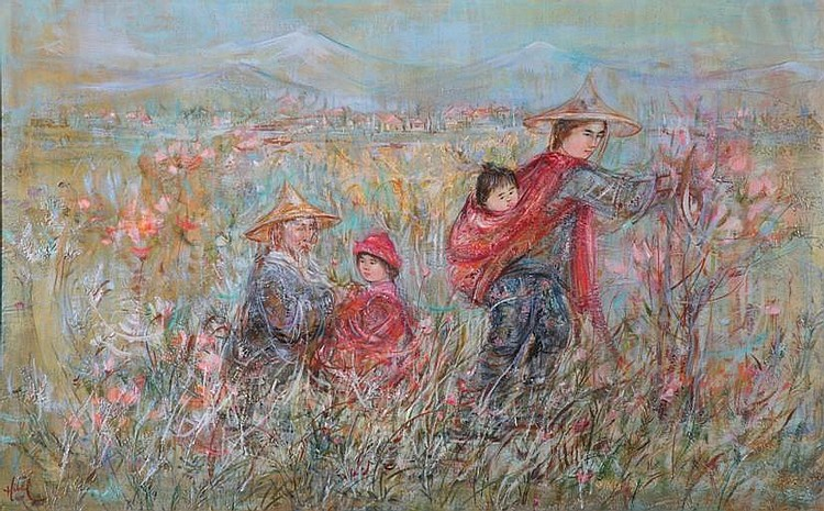 ***HIBEL EDNA| (Born 1917 American) ''Fields, Listed Artist, Old Oil Painting