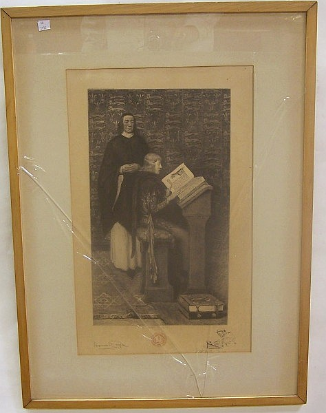 ***BICKNELL, WILLIAM HENRY WARREN (1860-1947 American) Teacher and student, drypoint etching, approximate plate size 18 1/8'' x 10 3/8'', frame 31'' x 23'', artist identified bottom center of plate, published for and by the Bibliophile Society Inc.,