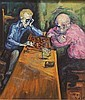 JULES, MERVIN (Born 1912 American) Chess players, handcrafted-framed oil on masonite panel, approximate image 15'' x 13'', frame 20 1/2'' x 18 1/2'', signed lower right., Mervin M Jules, Click for value