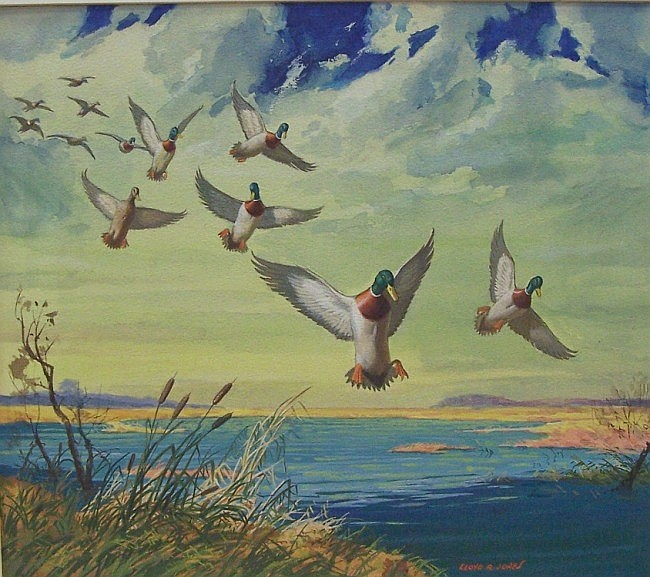 ***JONES, LLOYD R. (Born 1890 American) ''Number 112 Safe Landing'', watercolor and gouache mounted to illustration board, approximate image 16'' x 18'', signed lower right.