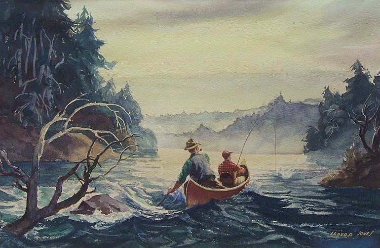 ***JONES, LLOYD R. (Born 1890 American) Bringing in the catch, unframed and matted watercolor hinged to backing board, approximate image 13 1/4'' x 19 3/4'', signed lower right, from the family collection of the Bielefeld Studios Inc. of Chicago.