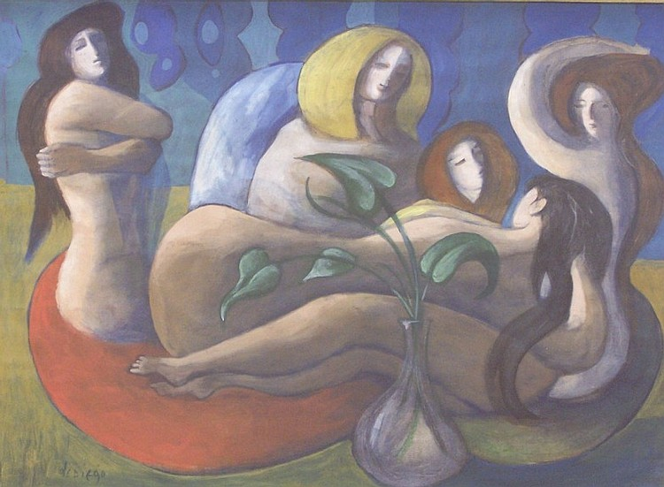 ***DIEGO, JULIO DE (1900-1979 American) Group of reclining nudes, framed watercolor and gouache, approximate image 15 1/2'' x 21'', frame 20'' x 26'', signed lower left.
