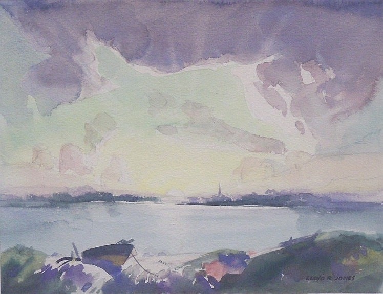 ***JONES, LLOYD R. (Born 1890 American) Sunset over a lake with a town in the distance, framed watercolor on paperboard, approximate image 8 1/2'' x 11'', frame 18'' x 20'', signed lower right.