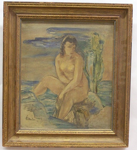 ***TAUBES, FREDERIC (1900-1981 American) Nude bather, framed oil on canvas, approximate image 13'' x 11'', frame 17'' x 15'', signed lower left, also bears gallery label stamped on back of canvas with inventory #945, and bears remains of old label