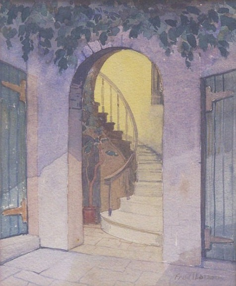 ***LARSON, FRED THOMAS (Born 1868 American) Stairwell in courtyard, framed watercolor, approximate image 8 1/2'' x 7'', frame 16'' x 14'', signed lower right.