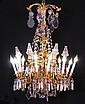 19TH CENTURY GILT METAL 12 LIGHT CHANDELIER