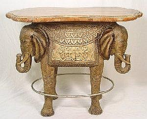 FAUX MARBLE TOP ELEPHANT BAR TABLE