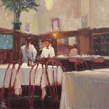 AUSTER, Ken, (American, 1949-): Restaurant Scene,