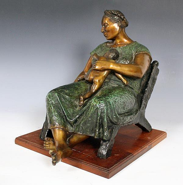 MIGUEL MARTINEZ MOTHER AND CHILD BRONZE