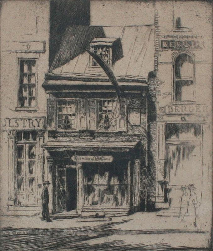 PULLINGER ETCHING OF BETSY ROSS HOUSE