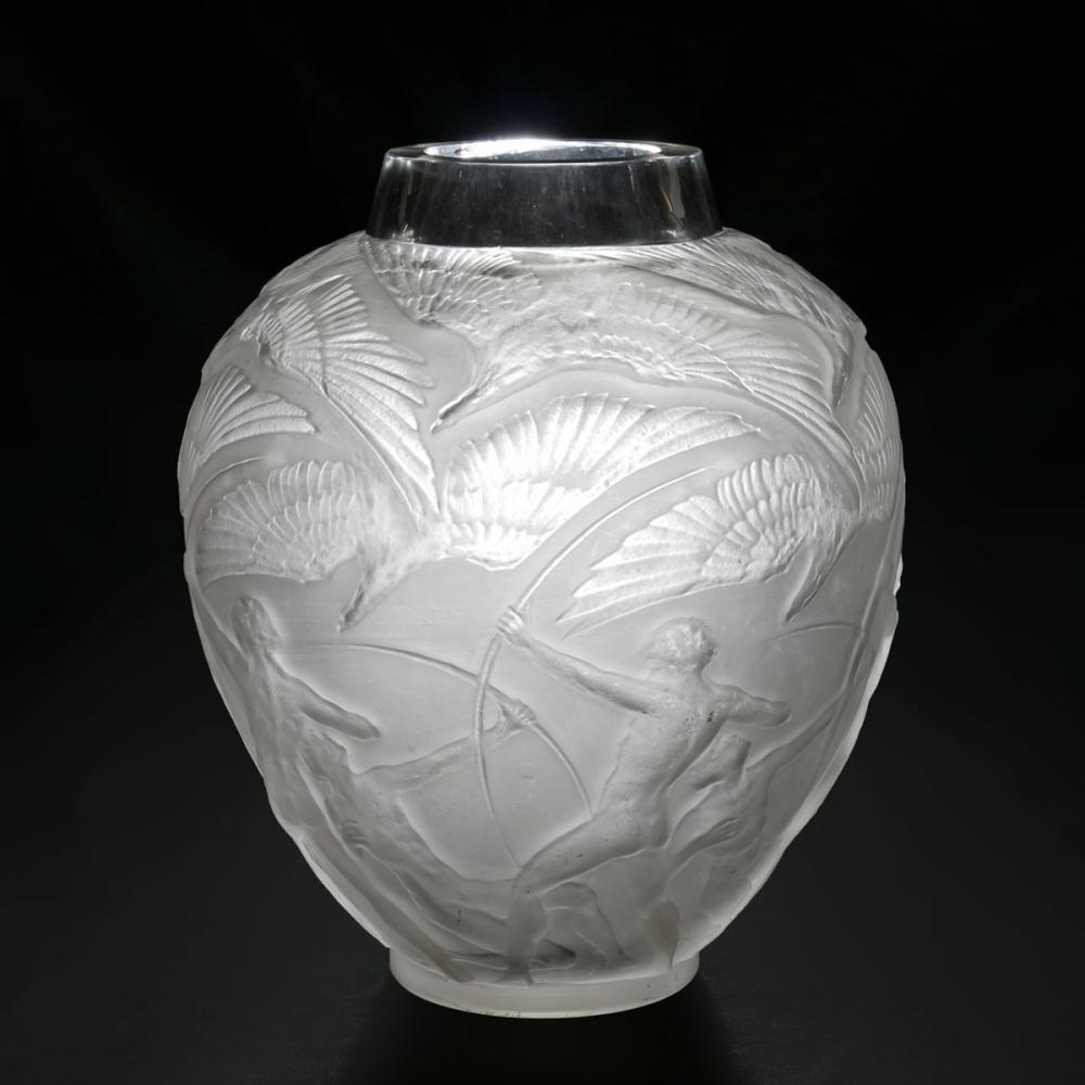 "LARGE PRE-WAR LALIQUE GLASS ""ARCHERS"" VASE"