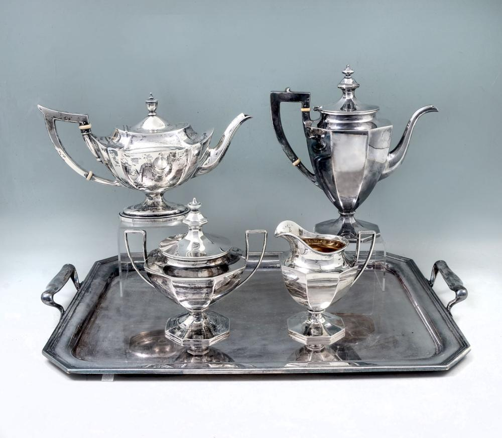 GORHAM STERLING TEA SET WITH SILVER PLATE TRAY
