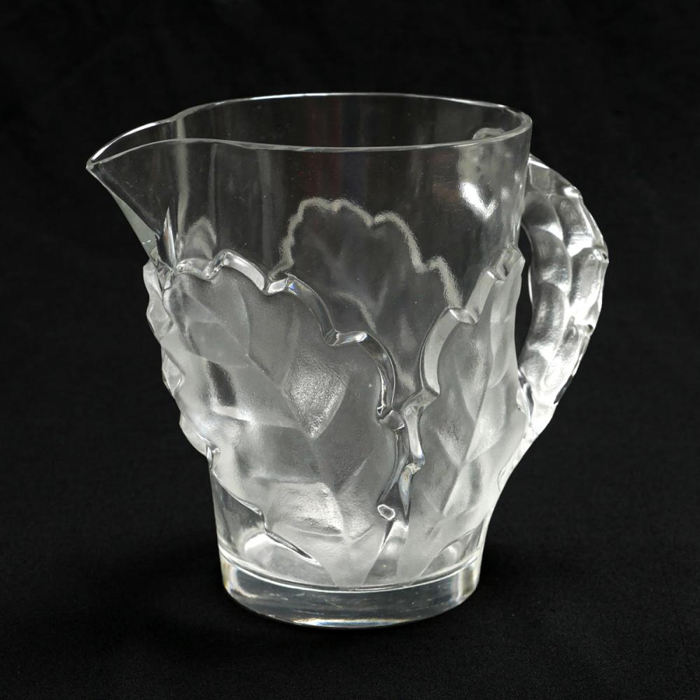 "LALIQUE ""CHENE"" CRYSTAL PITCHER"
