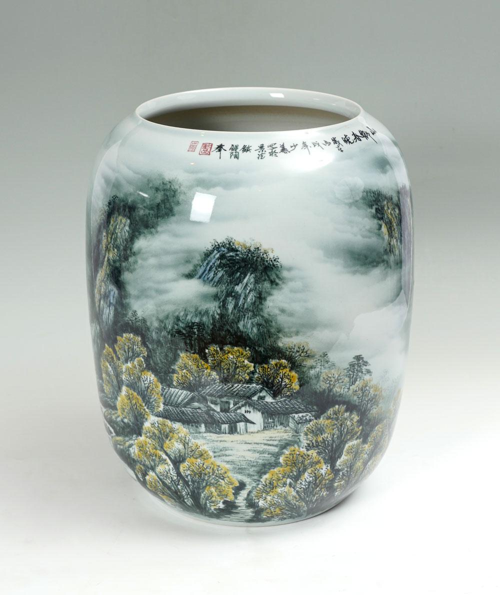 LARGE ORIENTAL PAINTED MOUNTAINOUS LANDSCAPE VASE