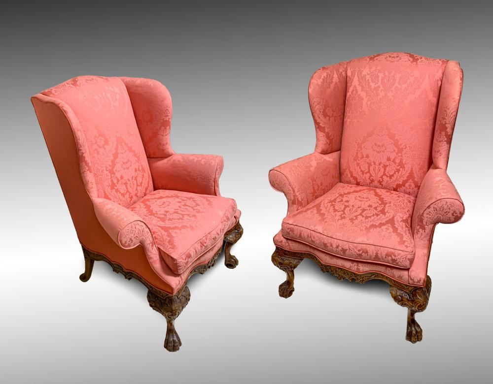 PR HIGHLY CARVED WINGBACK CHAIRS