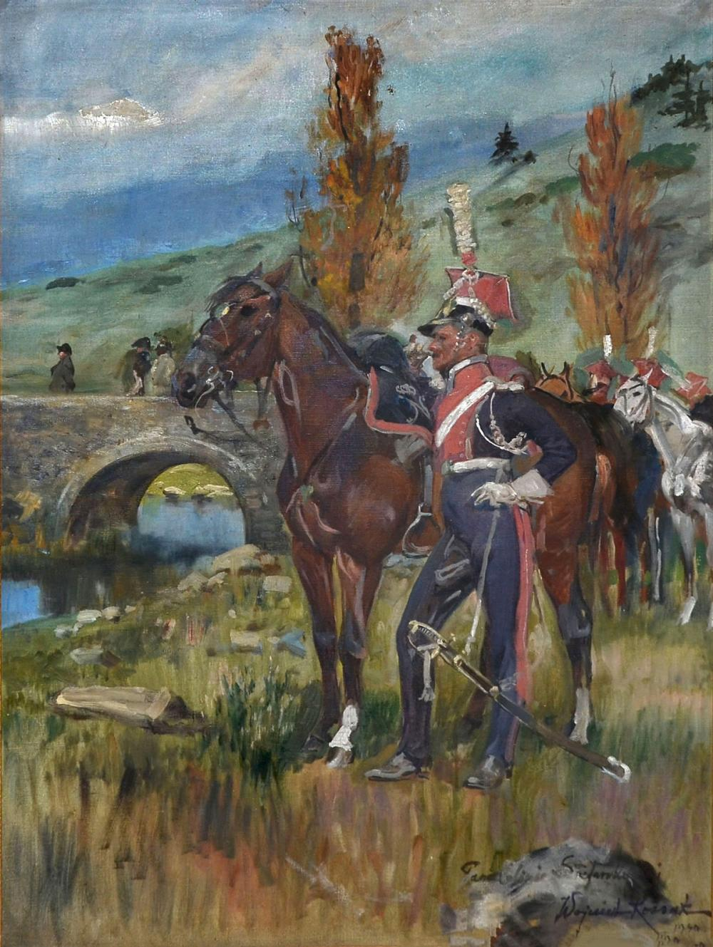 KOSSAK MILITARY PAINTING WITH OFFICERS & HORSES
