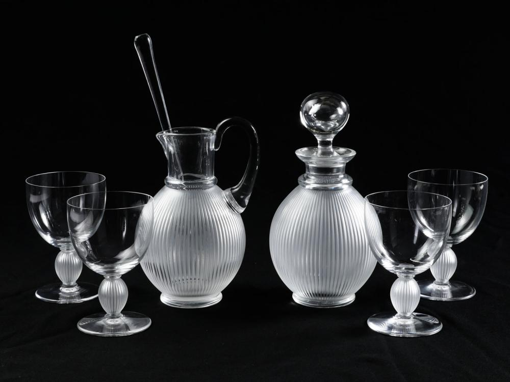 LALIQUE ''LANGEAIS'' LIQUOR DECANTER & GLASS SET