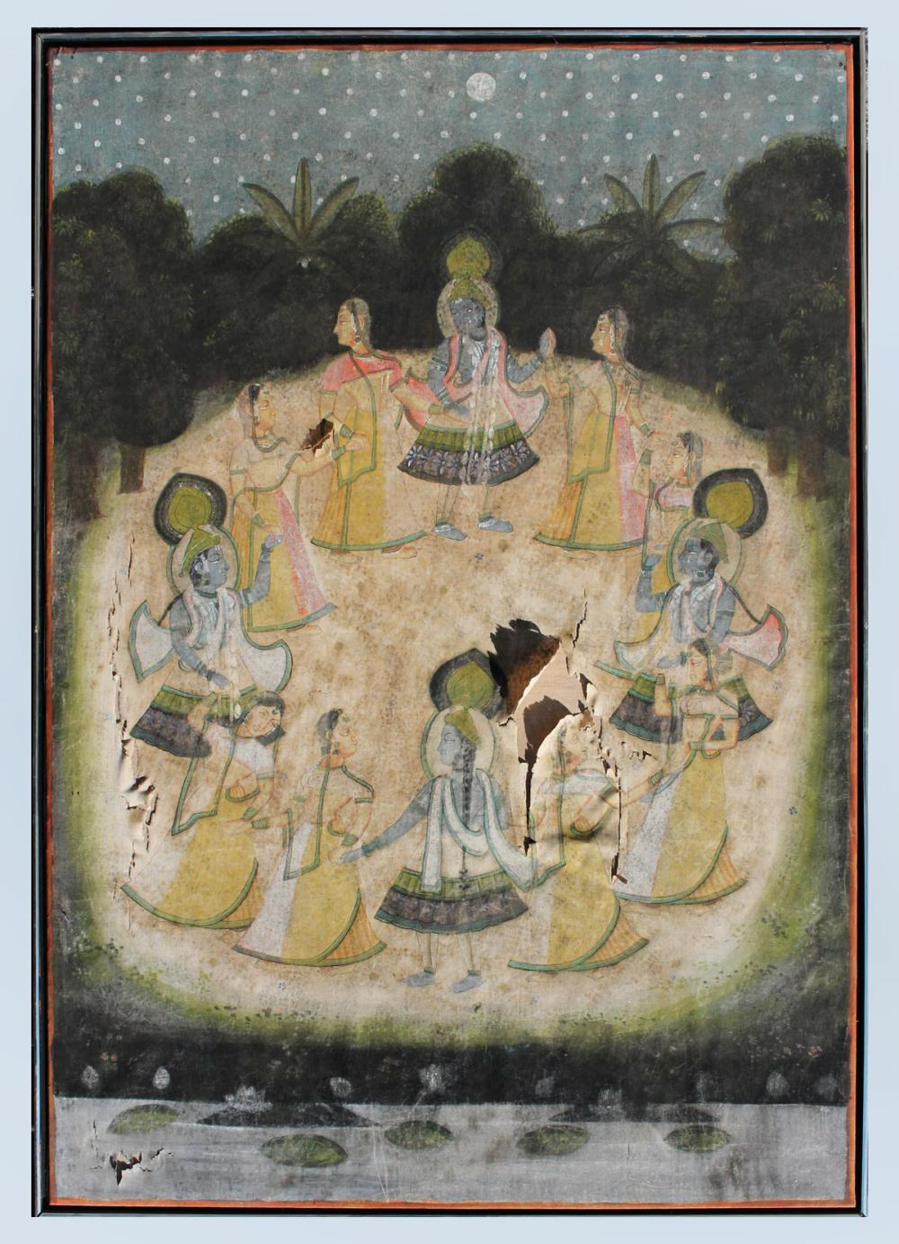 LARGE EARLY HINDU CEREMONIAL PAINTING