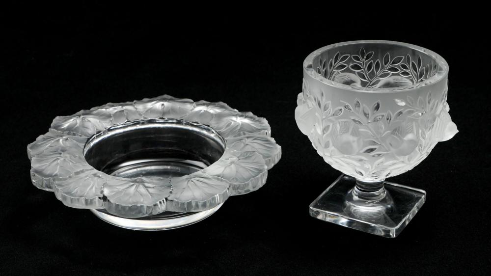2 PC LALIQUE SPARROW VASE AND BEGONIA BOWL