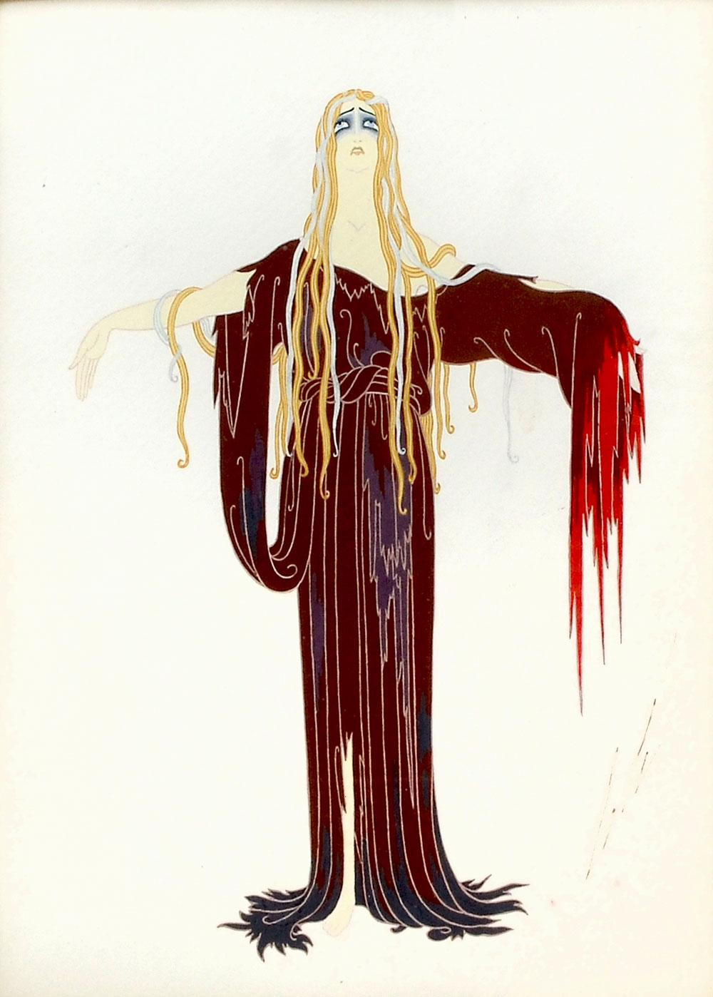 ERTE ORIGINAL GOUACHE ILLUSTRATION FAUST