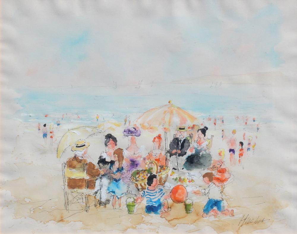 HUCHET WATERCOLOR PAINTING BEACH SCENE