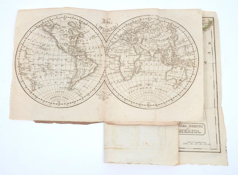 RARE 1820 JACOB WILLETS & P. POTTER BOOK OF WORLD MAPS