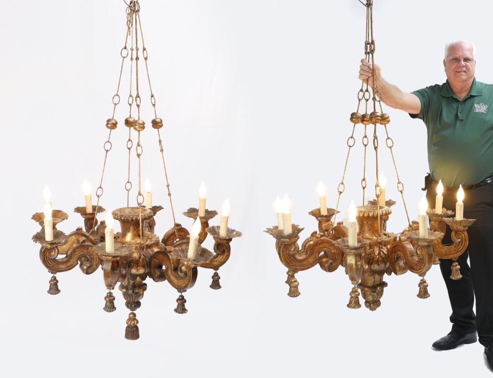 PR CARVED WOODEN CHANDELIERS CIRCA 1930-1950