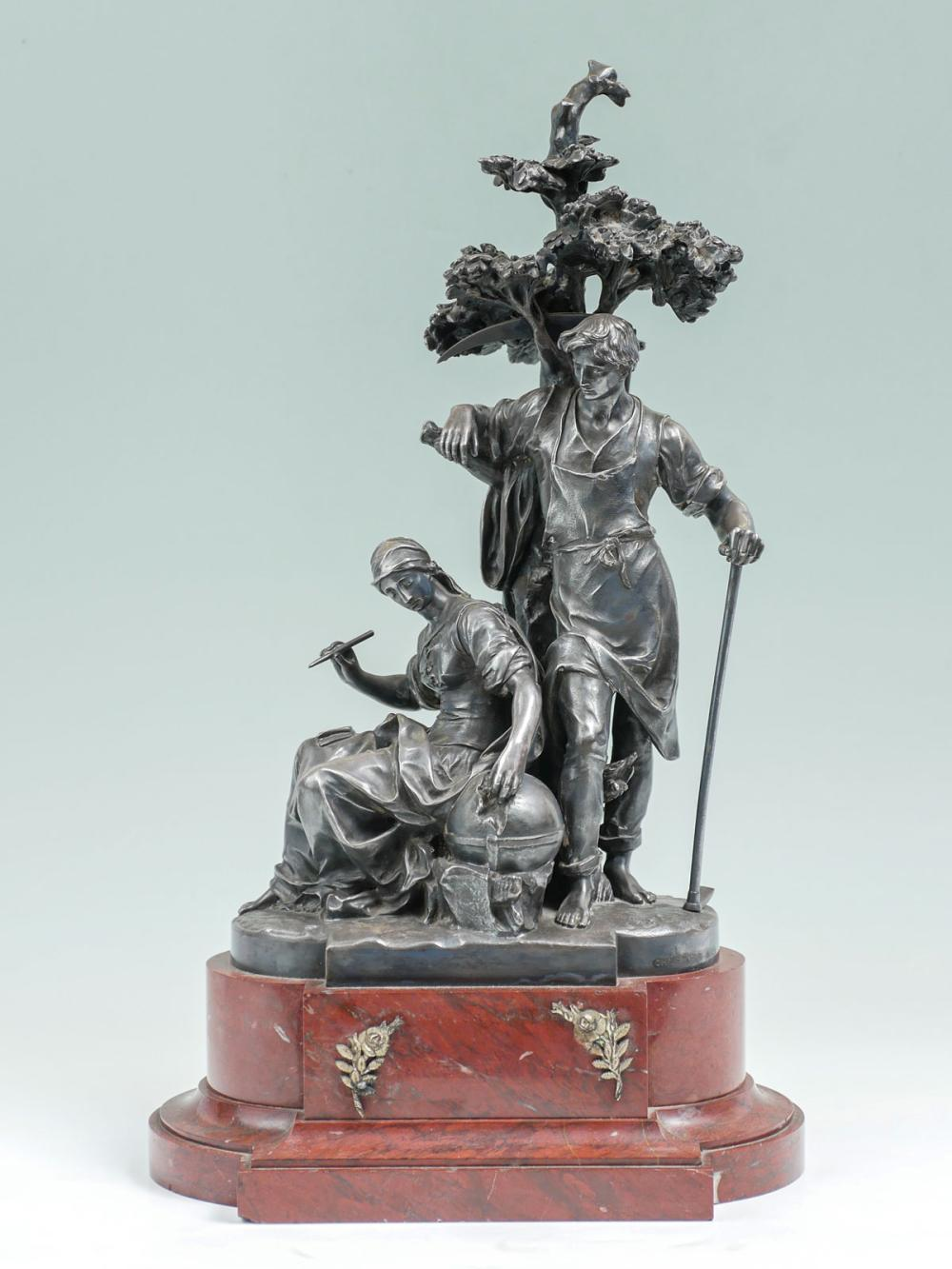FRENCH FIGURAL SILVERED BRONZE GROUPING BY CHRISTOFLE