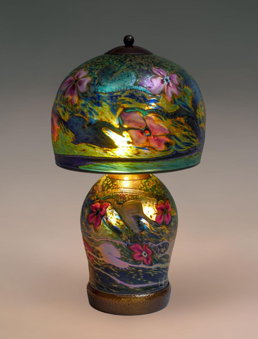 CHARLES LOTTON MULTI-FLORA IRIDESCENT LAMP