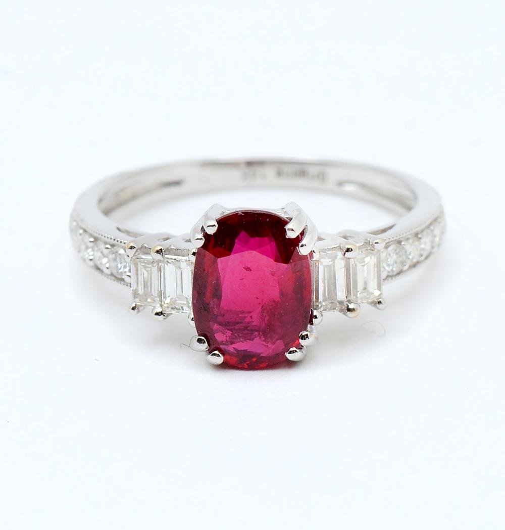 14K 1.66 CT NO HEAT RUBY & DIAMOND RING