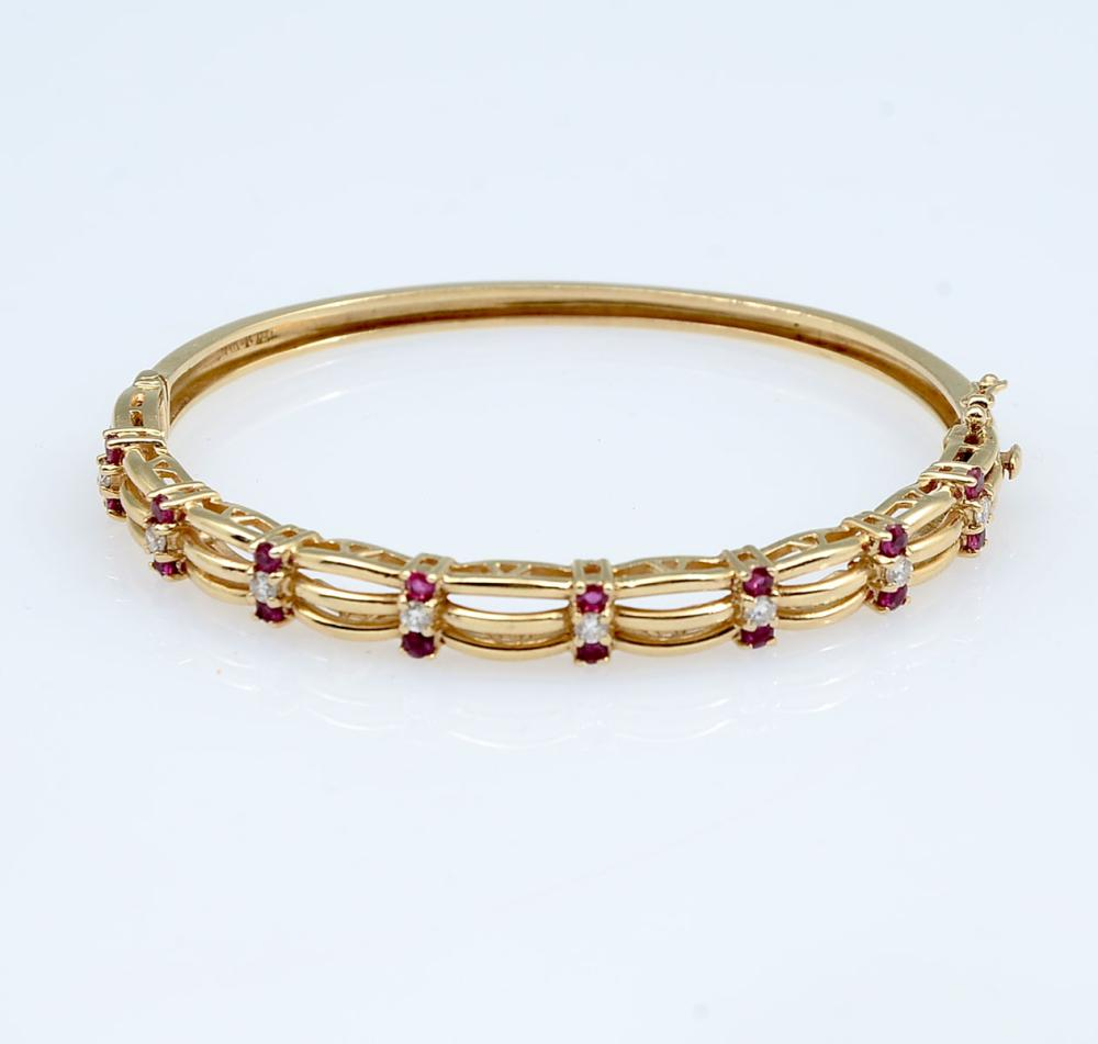 14K RUBY & DIAMOND BANGLE BRACELET