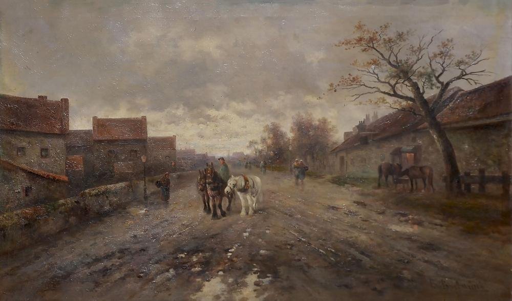 LARGE F BARBARINI VILLAGE LANDSCAPE PAINTING