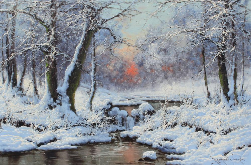 THE FINEST LASZLO NEOGRADY WINTER STREAM PAINTING