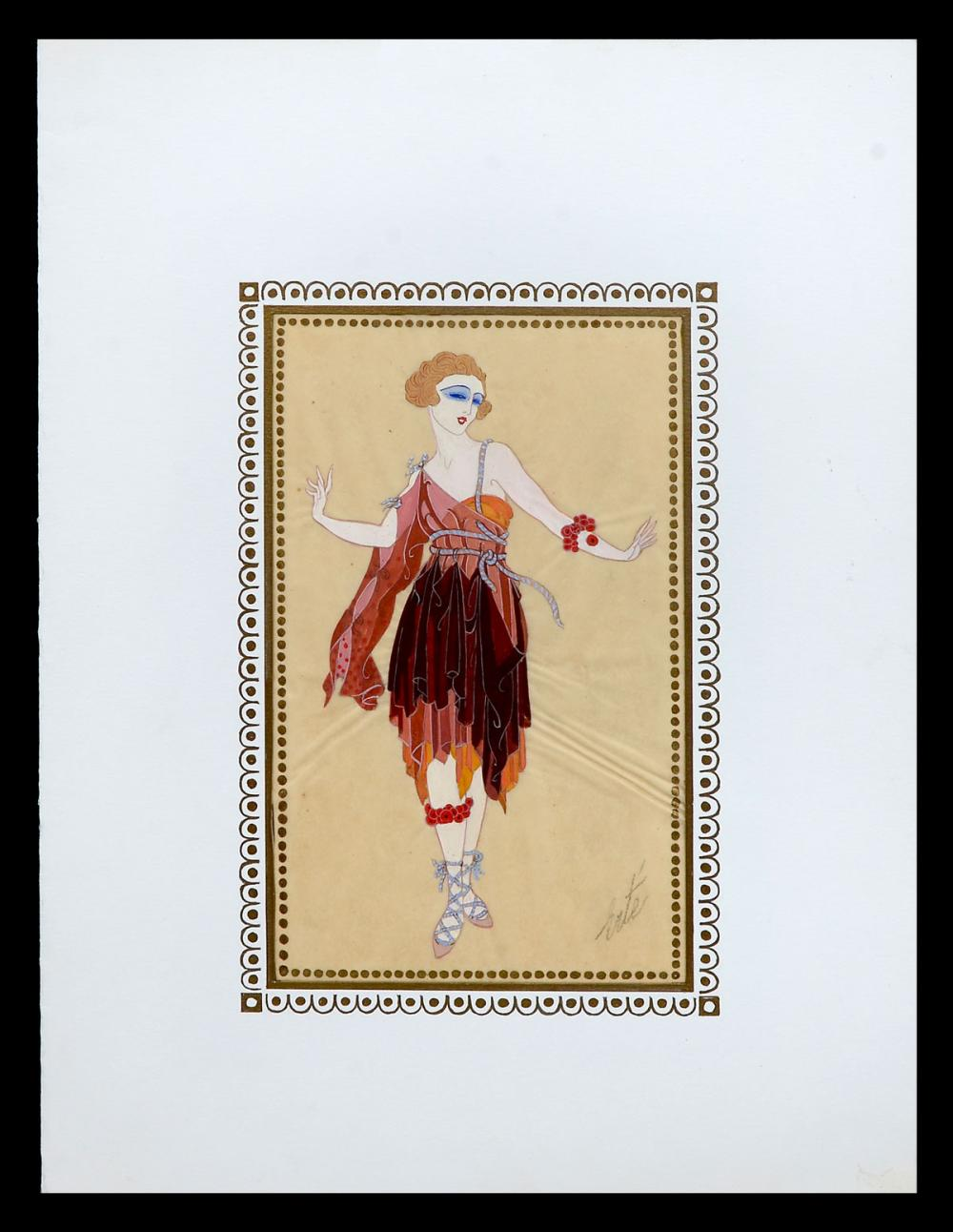 ORIGINAL & RARE ERTE PAINTING ON PARCHMENT