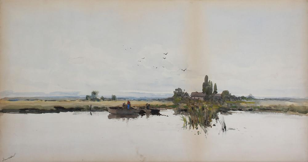 PANORAMIC PASTORAL MARSH PAINTING BY TROUILLEBERT