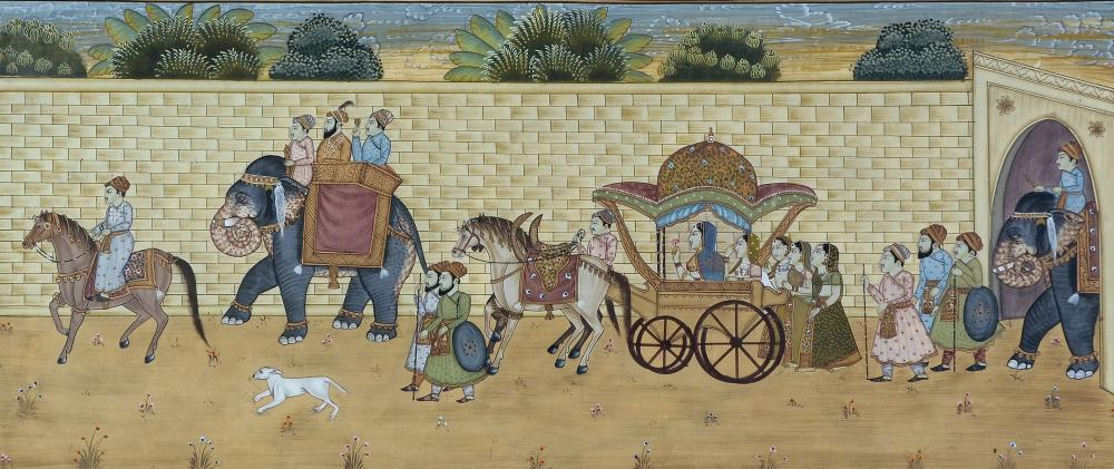 INDIAN NOBLE PROCESSION PAINTING