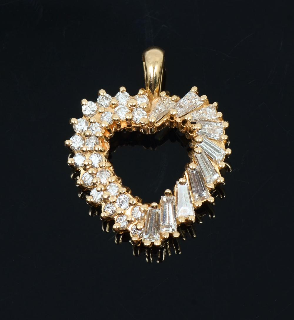 14K HEART SHAPED DIAMOND PENDANT