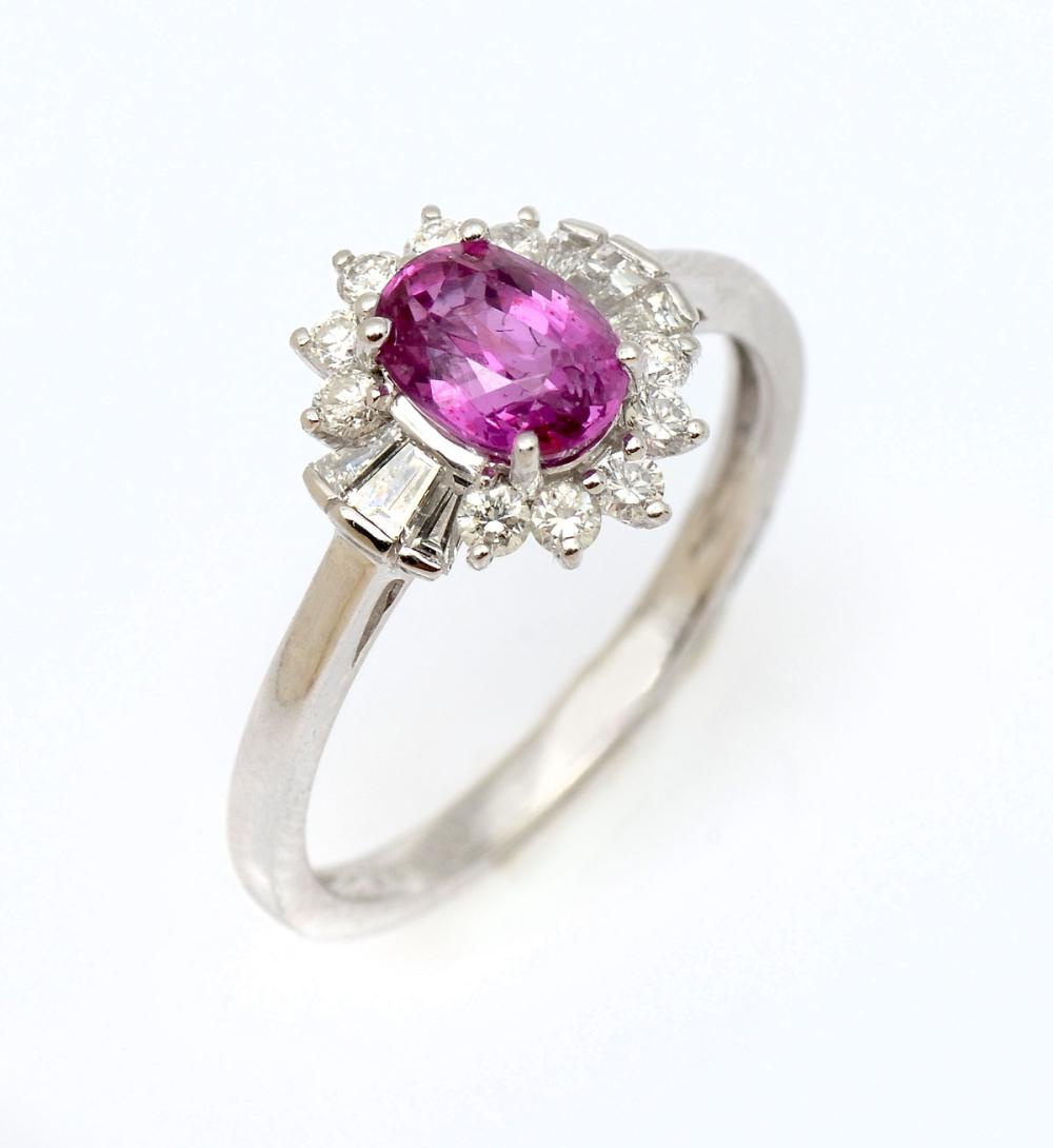 NO HEAT RUBY & DIAMOND RING IN PLATINUM