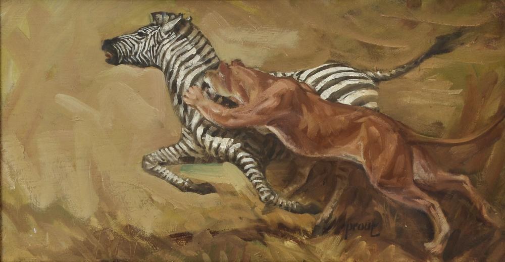 PROUT OIL/BOARD LION TAKING DOWN ZEBRA