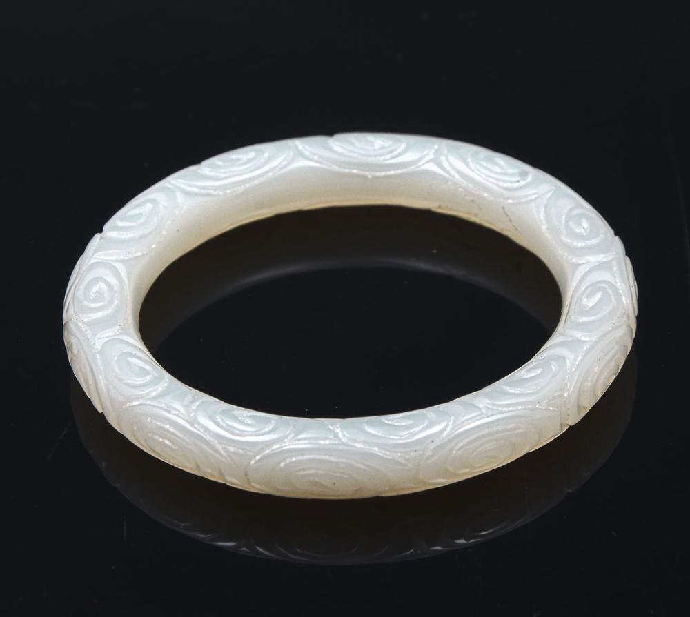 CARVED WHITE JADE BRACELET