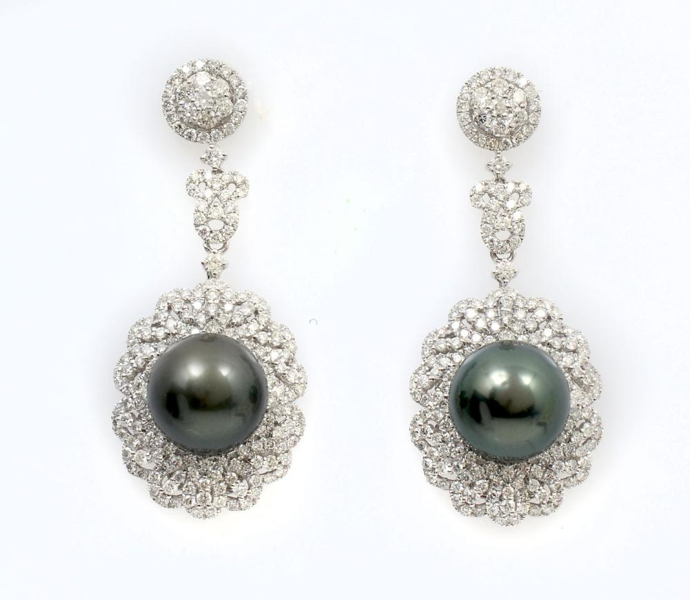 14K DARK GREY SOUTH SEAS PEARL & DIAMOND EARRINGS