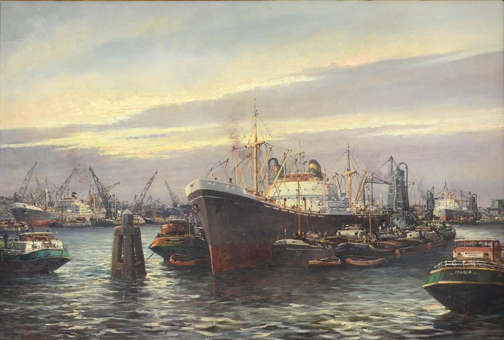 LARGE PAINTING OF BUSY EUROPEAN PORT
