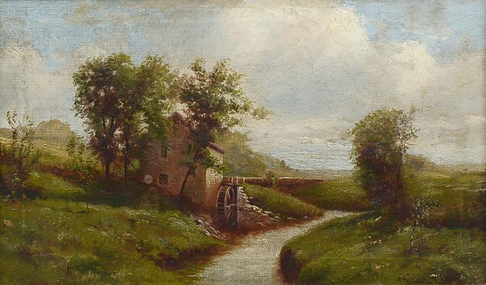 HENRY HULSMANN LANDSCAPE PAINTING WITH MILL