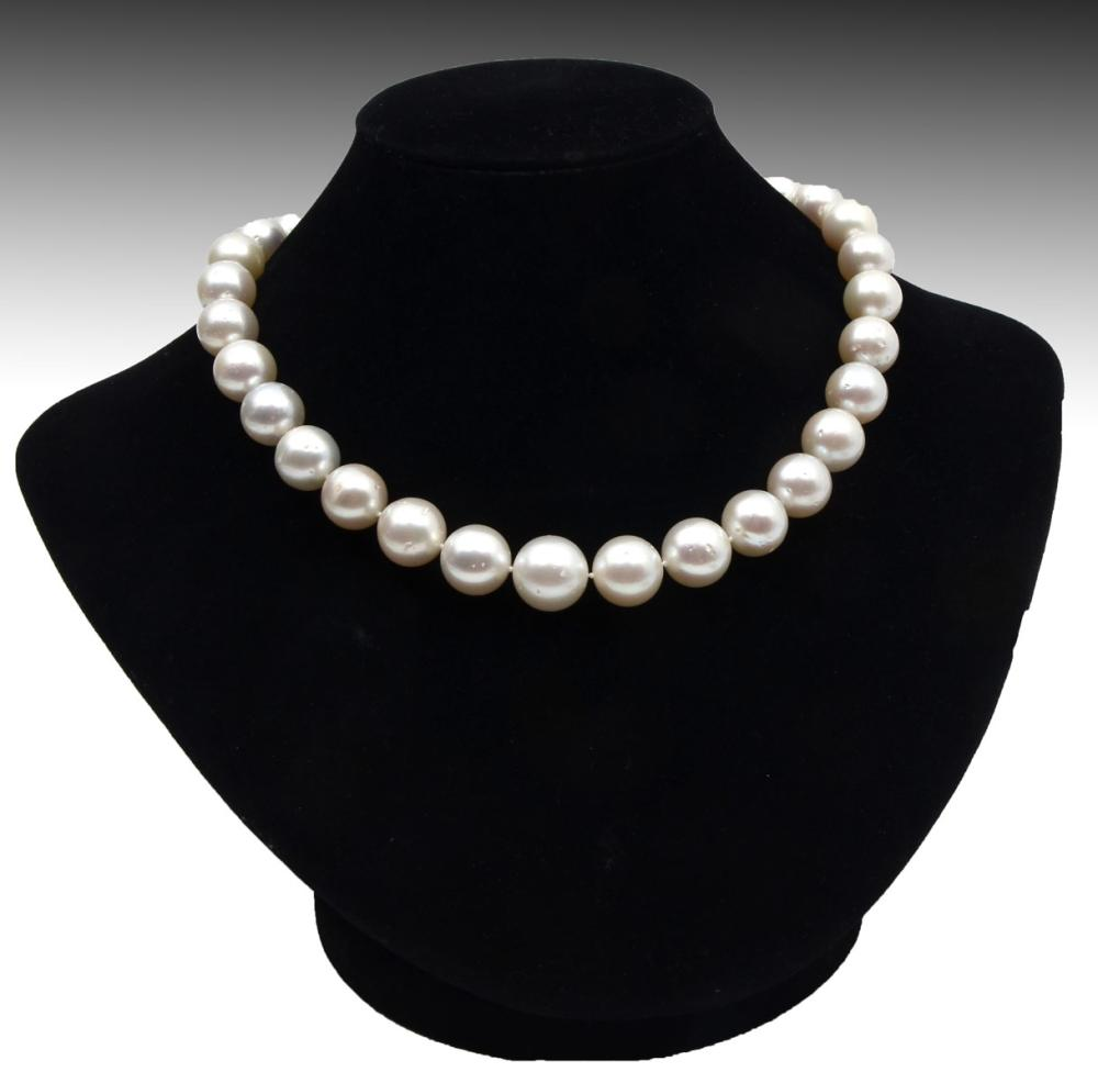 SINGLE STRAND LARGE WHITE SOUTH SEA PEARL NECKLACE