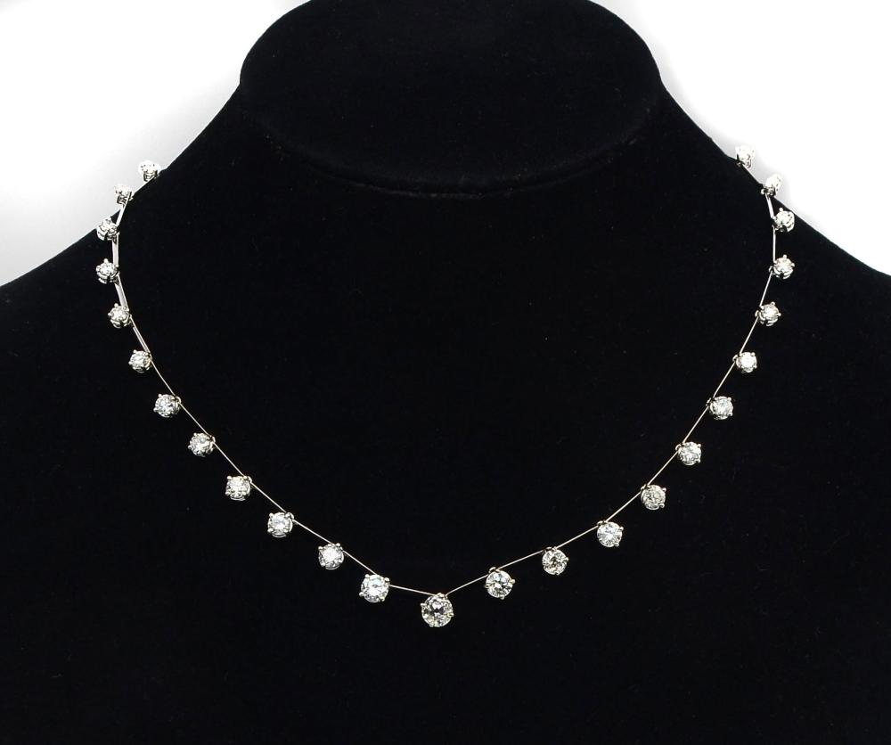 14K 9.37 CWT DIAMOND RIVIERE NECKLACE