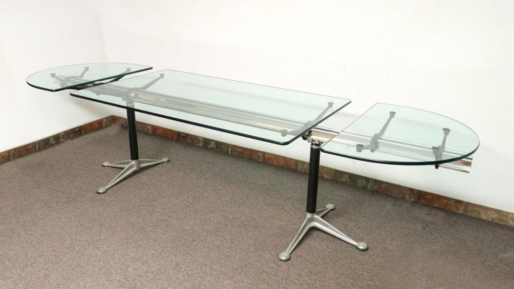 BRUCE BURDICK HERMAN MILLER OVAL GLASS TOP DESK